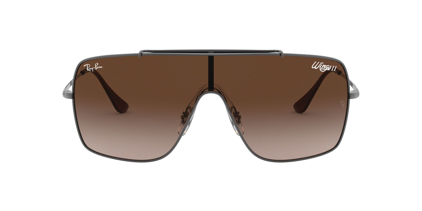 Ray Ban - Wings II Gunmetal/Brown Gradient Wrap Men Sunglasses - 35mm
