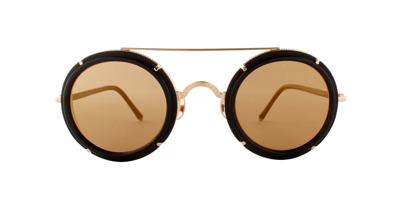 Matsuda - M3080 Black/Gold Mirror Round Men Sunglasses - 45mm