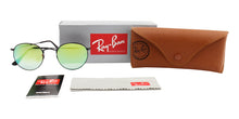Ray Ban - Round Metal Black/Green Mirror Oval Unisex Sunglasses - 50mm