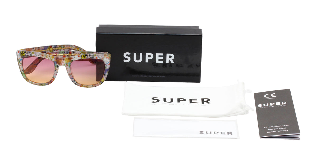 Retrosuperfuture - QN1 White Rectangular Women Sunglasses - 50mm