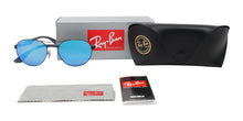 Ray Ban - RB3536 Black/Blue Mirror Oval Unisex Sunglasses - 55mm