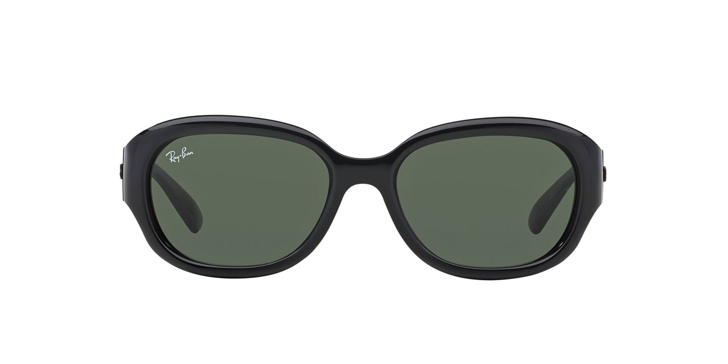 Ray Ban - RB4198 Black/Crystal Green Square Women Sunglasses - 55mm