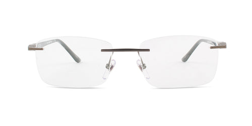 Starck - SH2023 Gunmetal Rimless Men Eyeglasses - 54mm