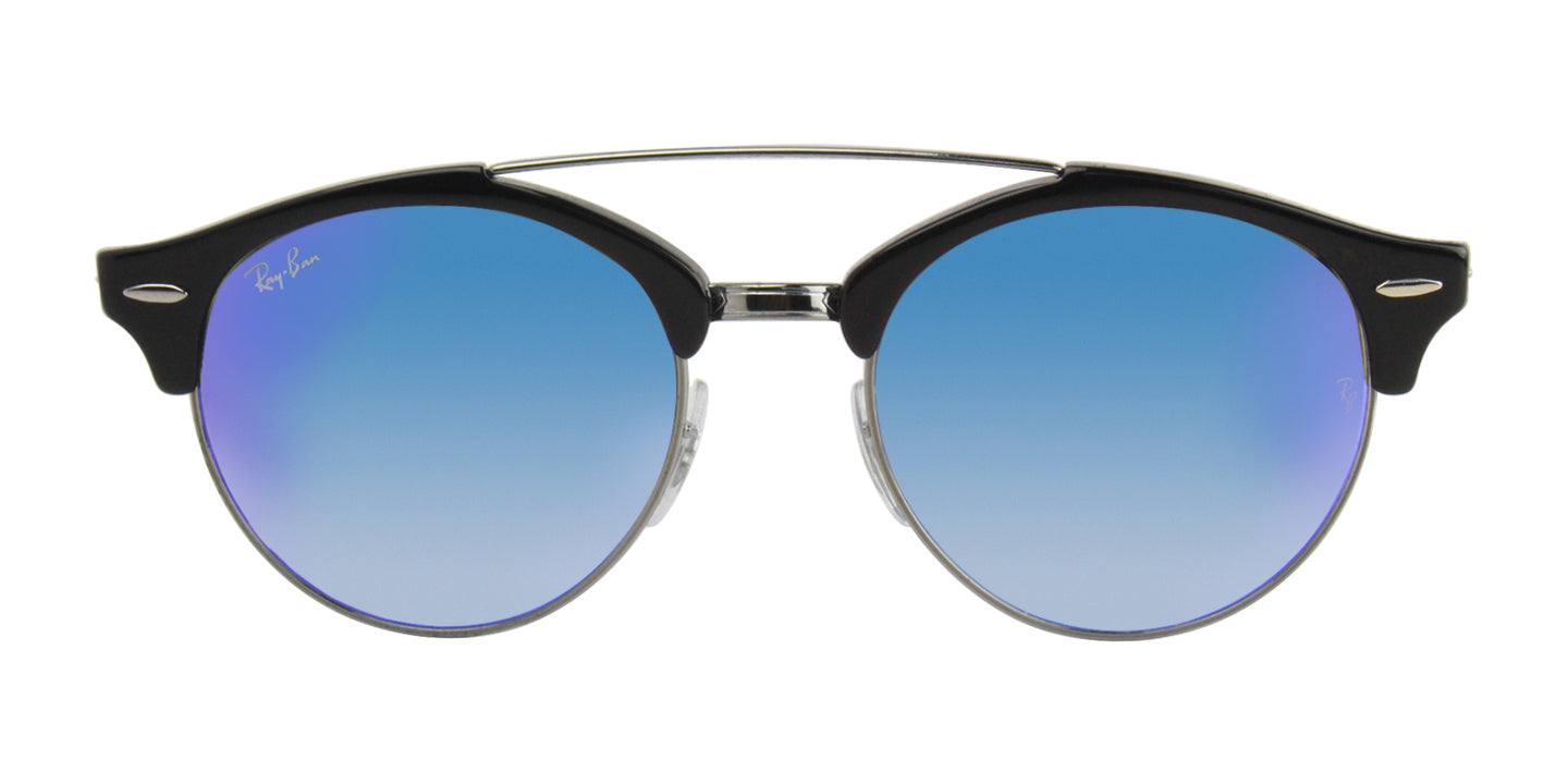 Ray Ban - RB4346 Black/Blue Mirror Oval Unisex Sunglasses - 51mm