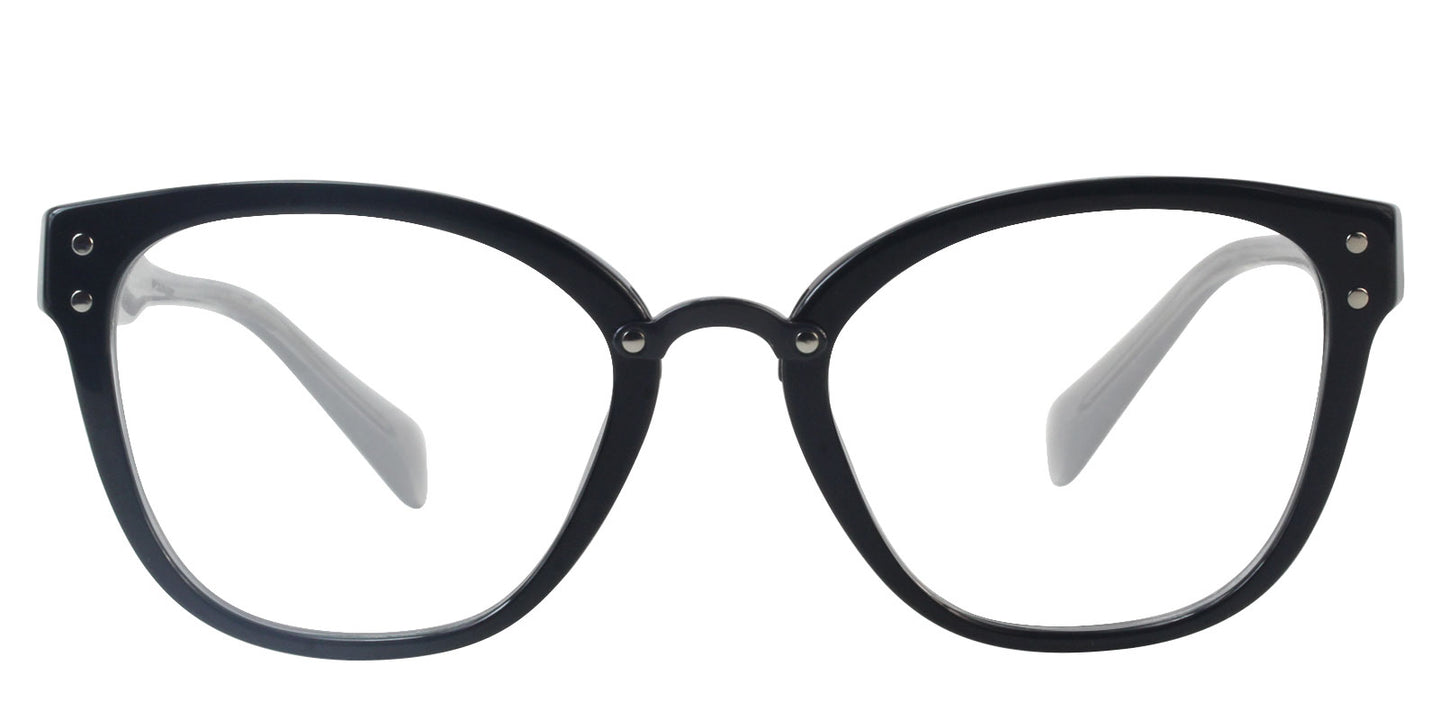 Miu Miu - MU04QV Black/Clear Oval Women Eyeglasses - 52mm