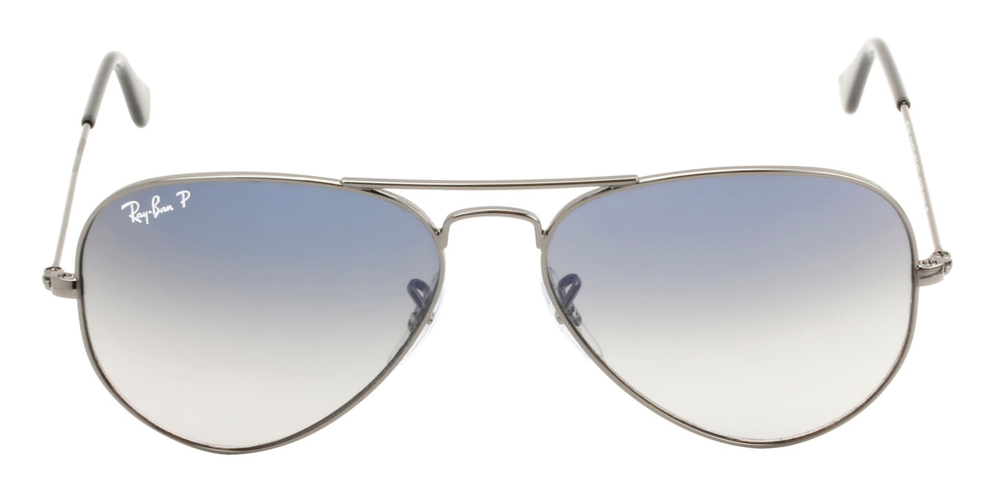 Ray Ban - Aviator Gradient Gray/Blue Polarized Unisex Sunglasses - 55mm