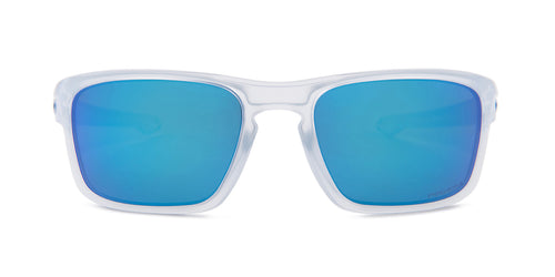 Oakley Sliver Clear / Blue Lens Mirror Sunglasses