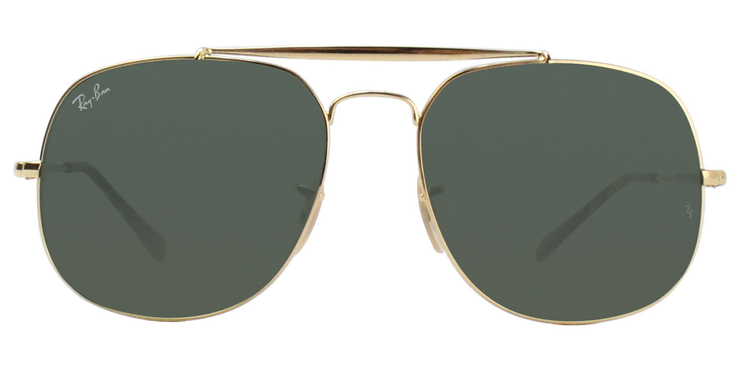 Ray Ban - RB3561 Gold/Green Oval Unisex Sunglasses - 57mm