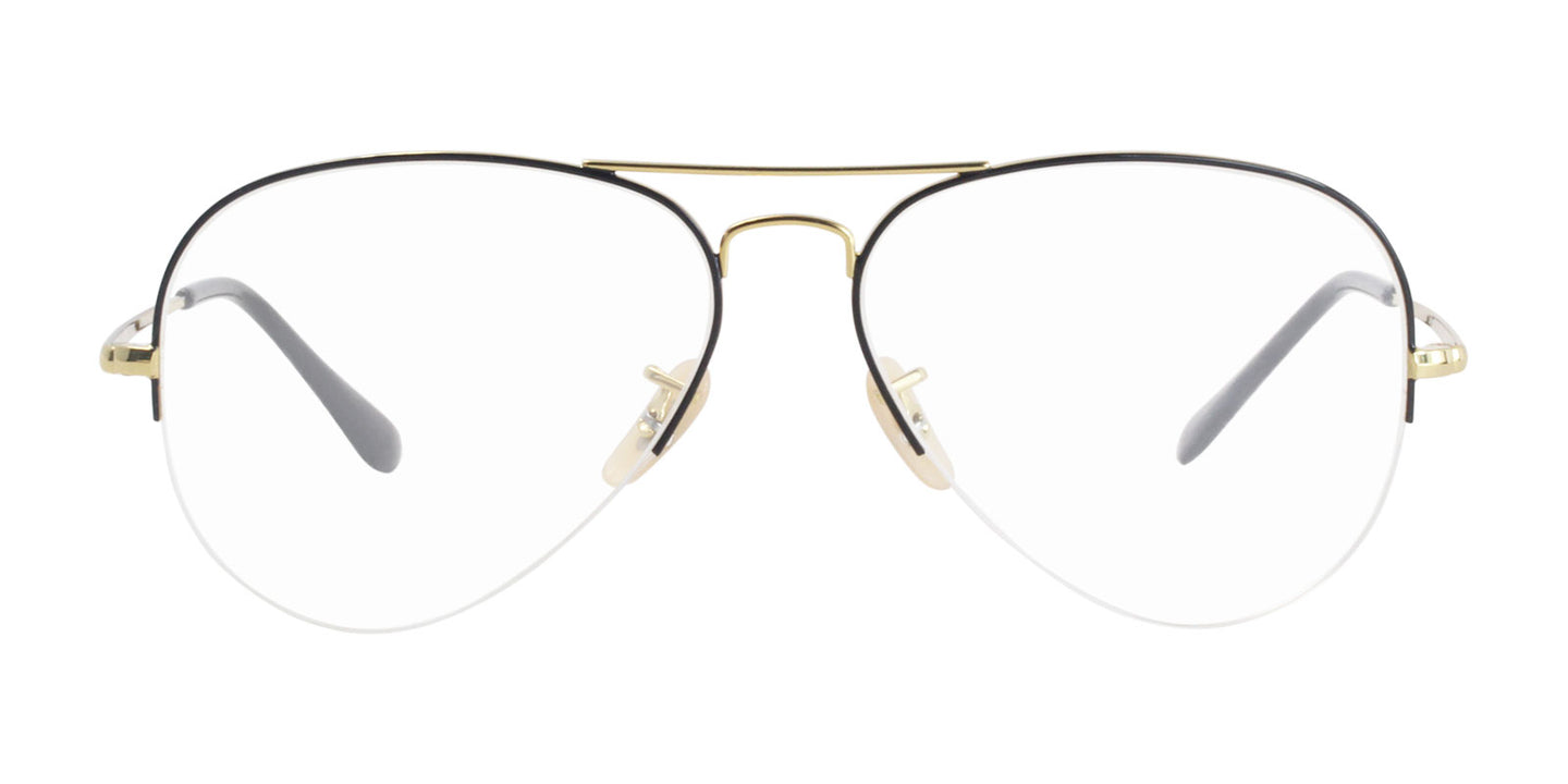 Ray Ban Rx - RX6589 Black Gold Aviator Unisex Eyeglasses - 59mm