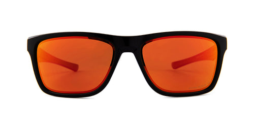 Oakley Holston Black / Red Lens Mirror Sunglasses