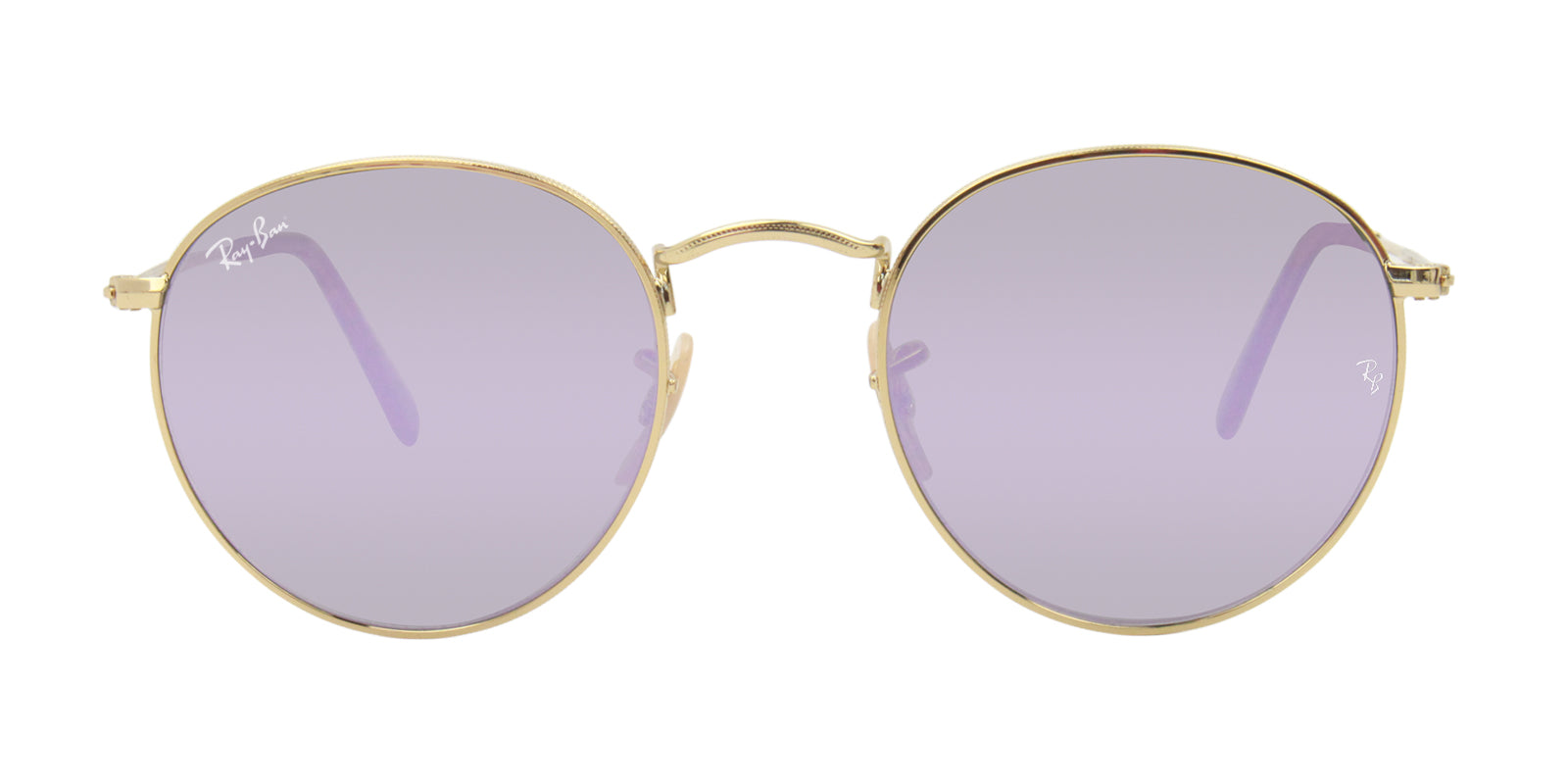 d9c7f9aa17a Ray Ban RB3447N Unisex Round Metal Gold   Purple Lens Sunglasses ...