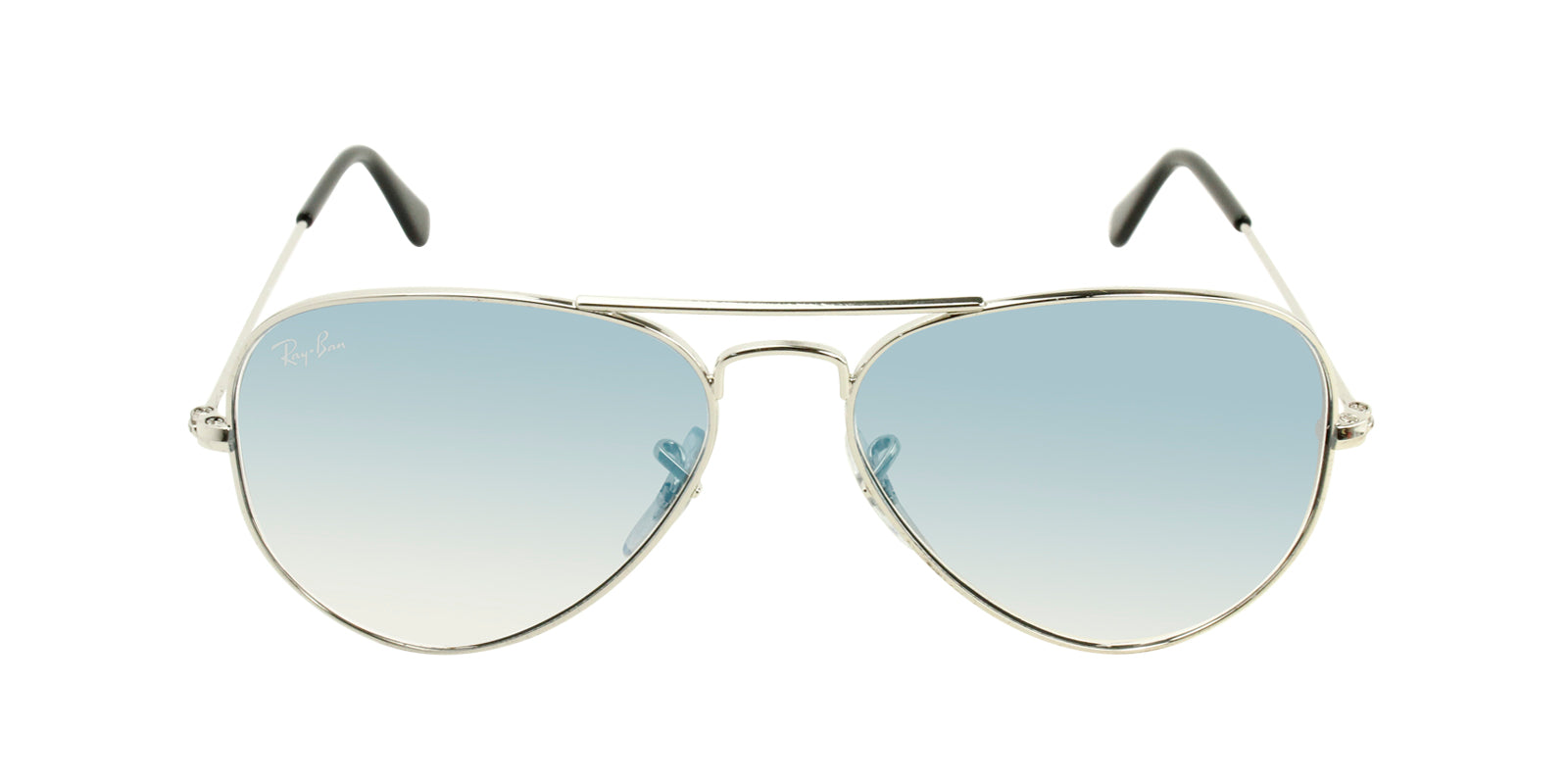 66800f24671 Ray Ban Silver Aviator Crystal Gradient Light Blue Sunglasses RB ...