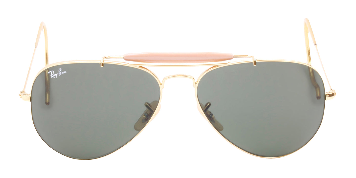 Ray Ban - Outdoorsman Gold/Green Aviator Men Sunglasses - 58mm