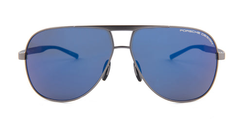Porsche Design P8657 Gunmetal / Blue Lens Mirror Sunglasses
