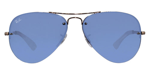 Ray Ban - RB3449 Rose Gold/Blue Mirror Aviator Unisex Sunglasses - 59mm