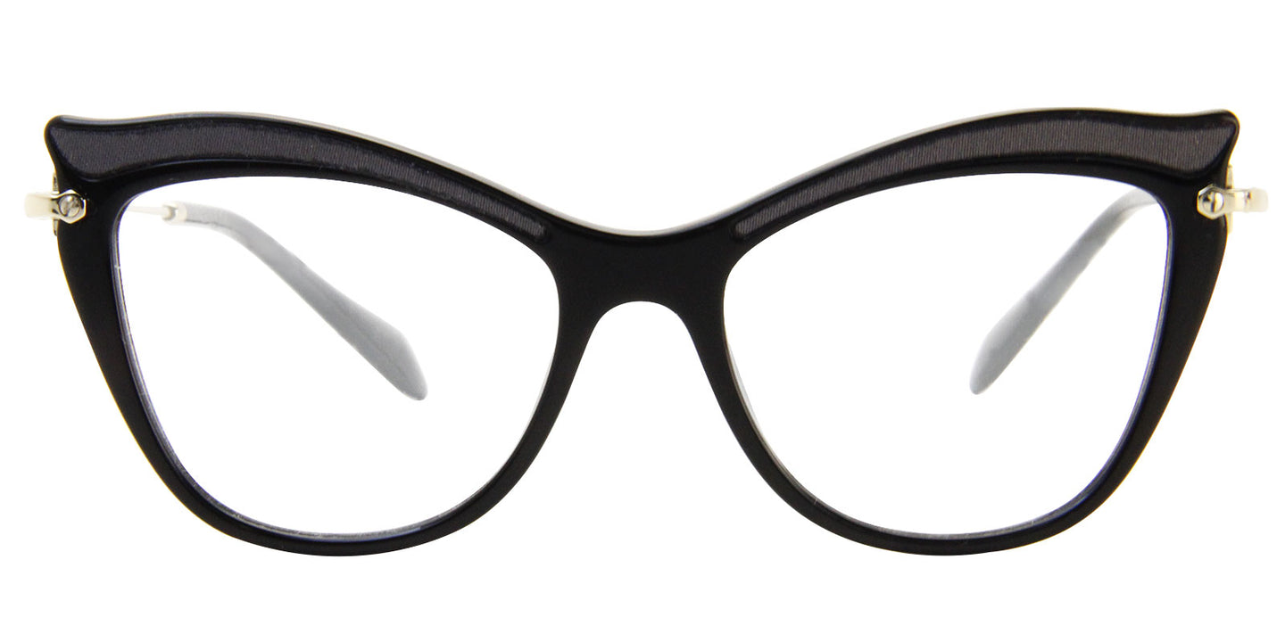 Miu Miu - MU06PV Black/Clear Oval Women Eyeglasses - 51mm