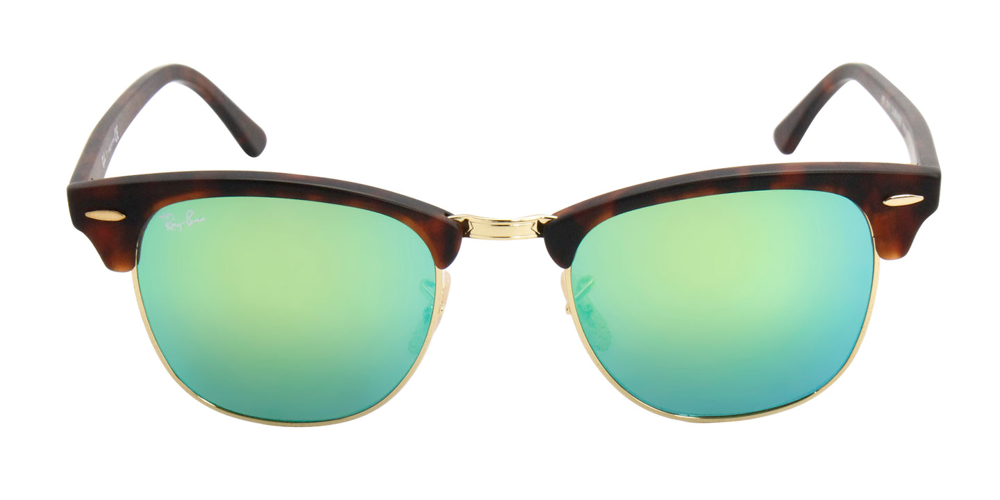Ray Ban - Clubmaster Tortoise/Green Mirror Oval Unisex Sunglasses - 51mm