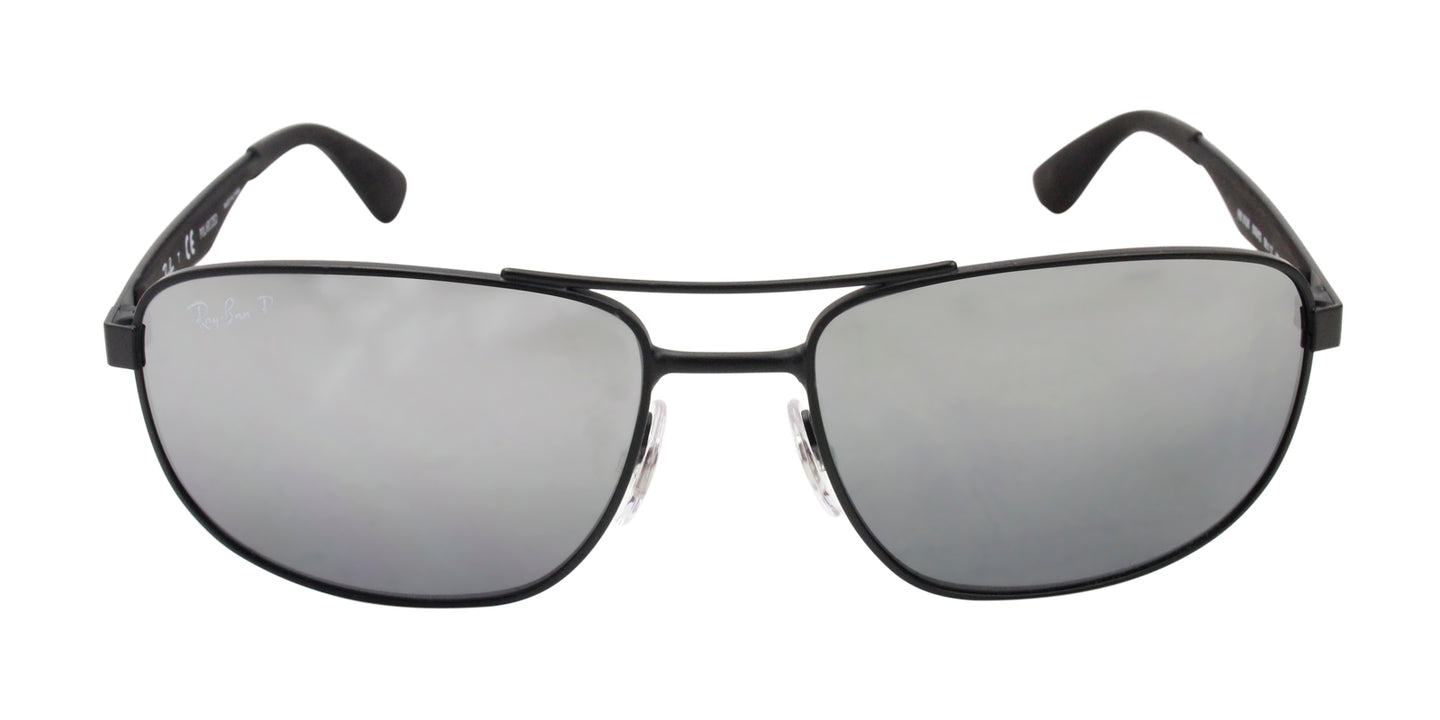 Ray Ban - RB3528 Black/Silver Mirror Polarized Rectangular Unisex Sunglasses - 58mm