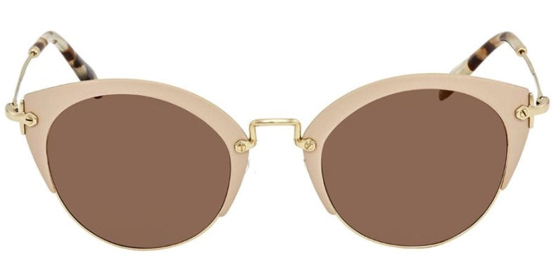 Miu Miu - MU53RS Light Pink/Brown Mirror Cat Eye Women Sunglasses - 52mm