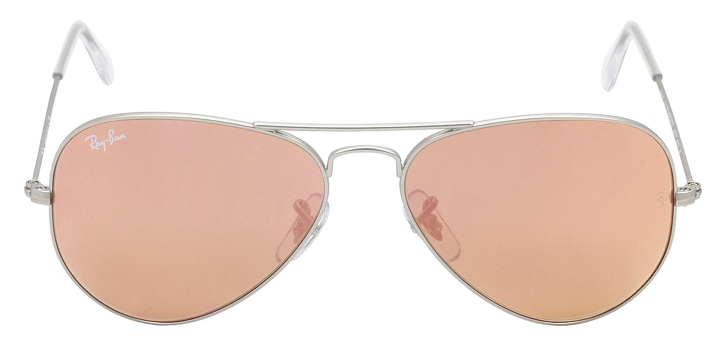 Ray Ban - Aviator Silver/Brown Mirror Unisex Sunglasses - 55mm