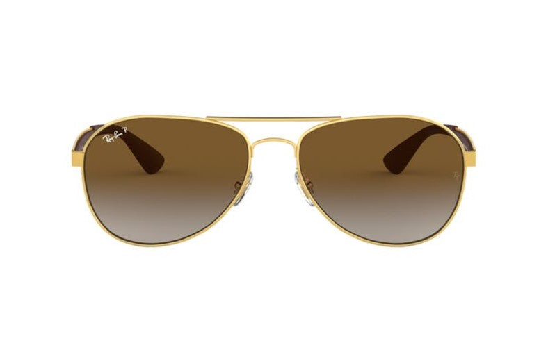 Ray Ban - RB3549 Gold/Brown Gradient Polarized Aviator Women Sunglasses - 58mm