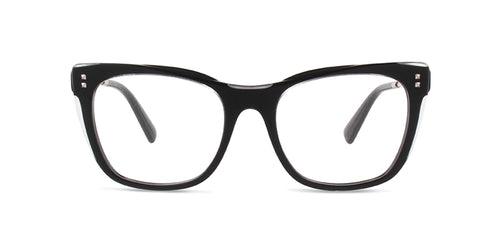 Valentino - VA3028 Black Square Women Eyeglasses - 52mm