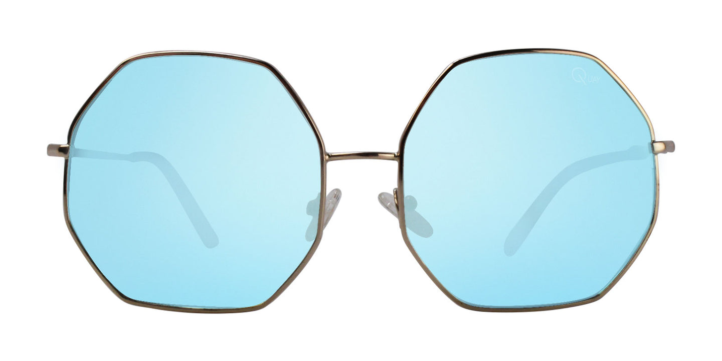 Quay Australia Kiss and Tell Gold / Blue Lens Mirror Sunglasses