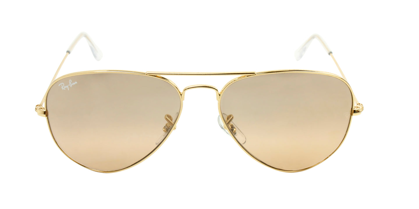 Ray Ban - Aviator Gradient Gold/Brown Mirror Unisex Sunglasses - 58mm