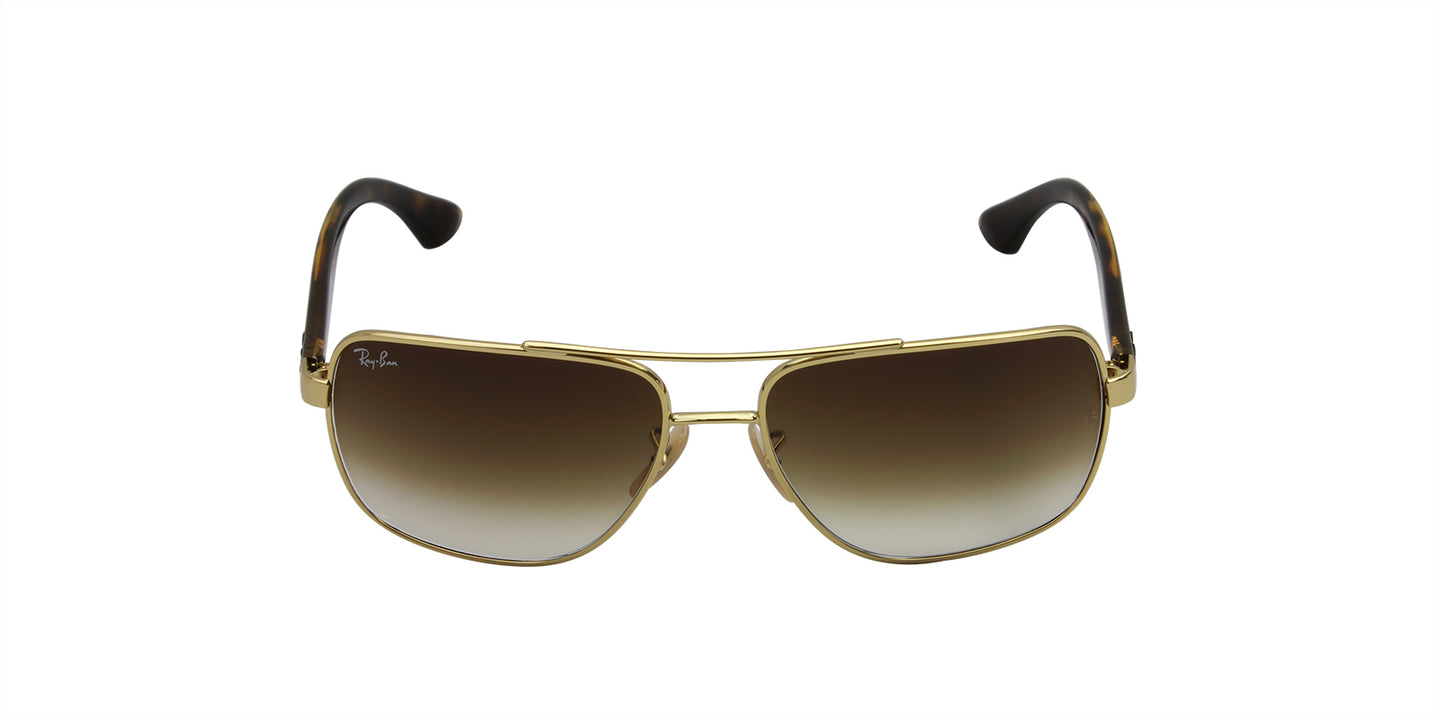 Ray Ban - RB3483 Gold/Brown Gradient Rectangular Unisex Sunglasses - 60mm
