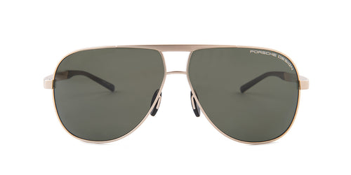 Porsche Design P8657 Gold / Green Lens Solid Polarized Sunglasses