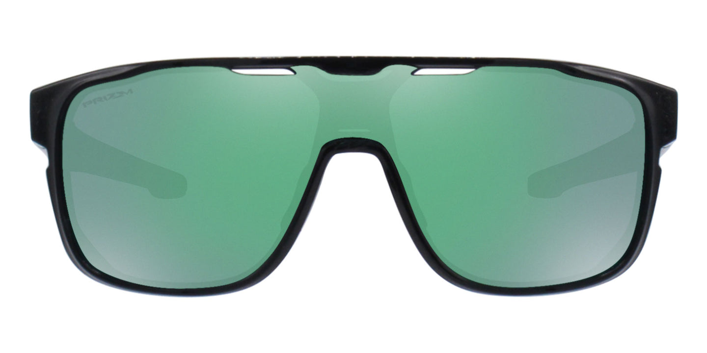 Oakley Crossrange Black / Green Lens Mirror Sunglasses