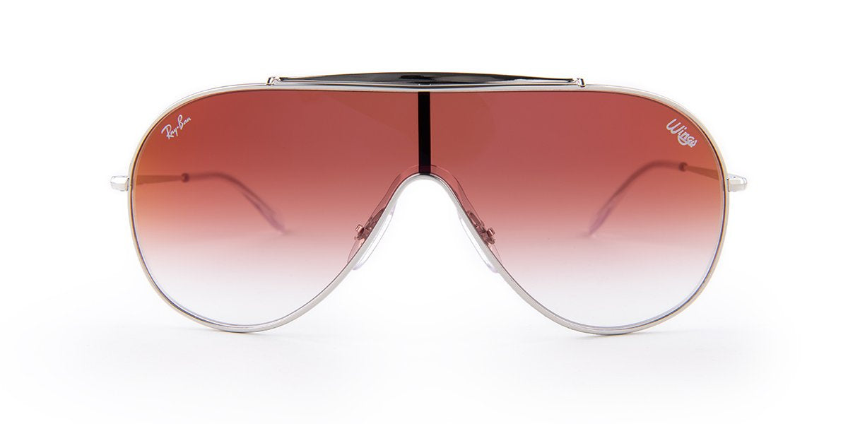 Ray Ban - Wings Silver/Red Gradient Wrap Men Sunglasses - 33mm