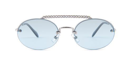 Miu Miu - MU06TS Silver/Blue Rimless Women Sunglasses - 54mm