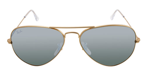Ray Ban - Aviator Gold/Blue Mirror Polarized Unisex Sunglasses - 58mm