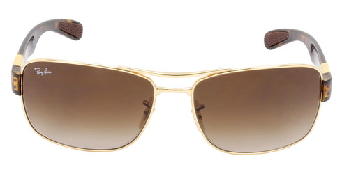 Ray Ban - RB3522 Gold Rectangular Unisex Sunglasses - 64mm