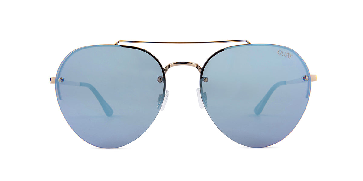 Quay Australia Somerset Gold / Blue Lens Mirror Sunglasses