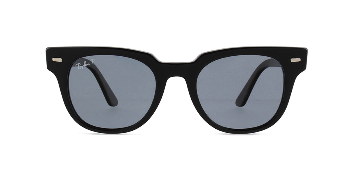 Ray Ban - Meteor Black/Blue Mirror Polarized Square Unisex Sunglasses - 50mm