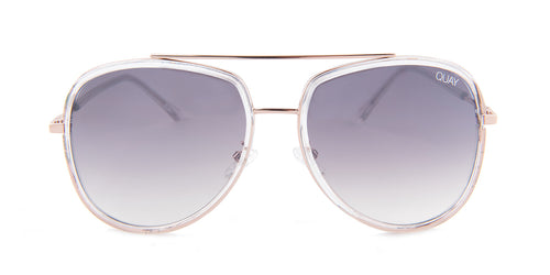 Quay Australia Needing Fame Rose Gold / Blue Lens Sunglasses