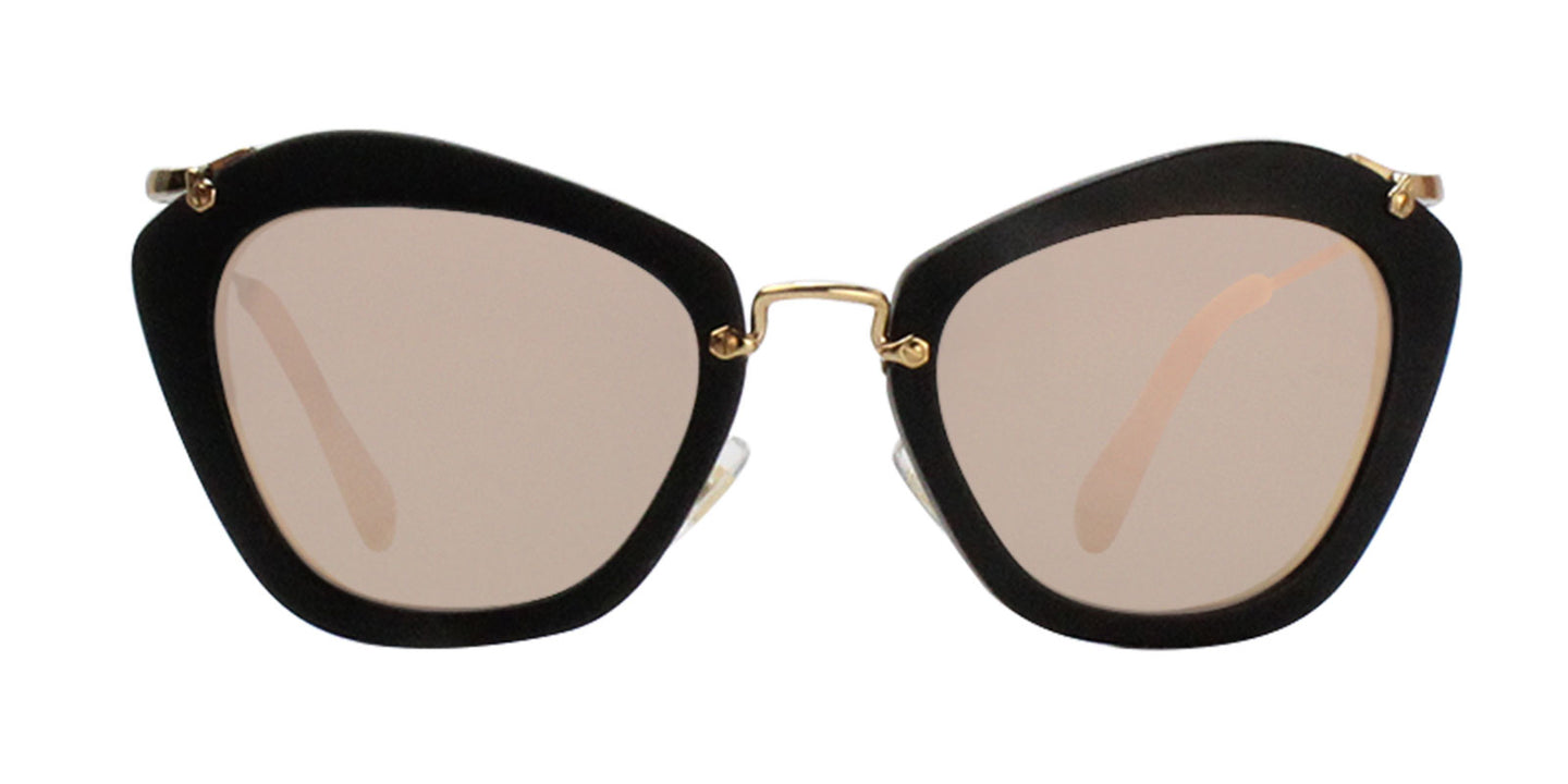 Miu Miu - MU10NS Black/Gold Mirror Cat Eye Women Sunglasses - 55mm