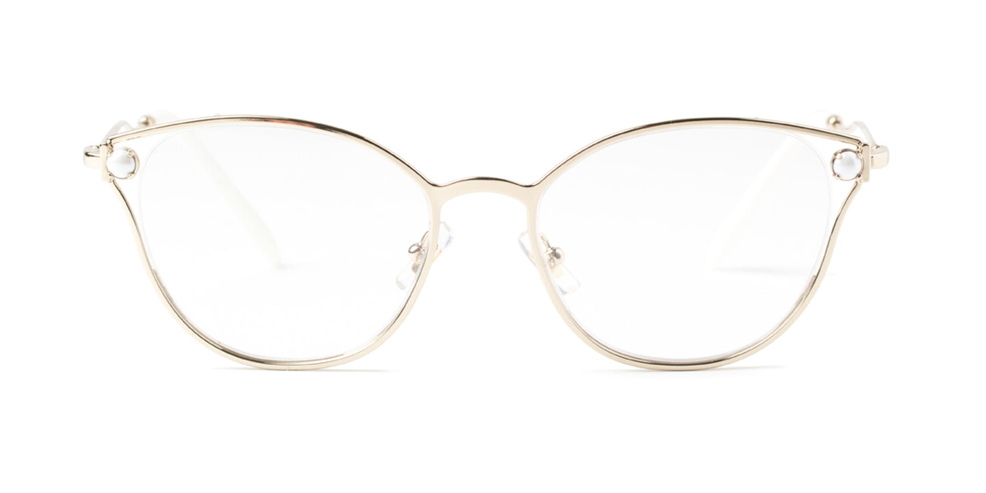 Miu Miu - MU53QV Gold/Clear Oval Women Eyeglasses - 52mm