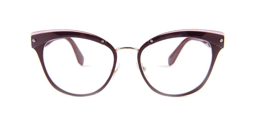 Miu Miu - MU54QV Garnet/Clear Cat Eye Women Eyeglasses - 52mm