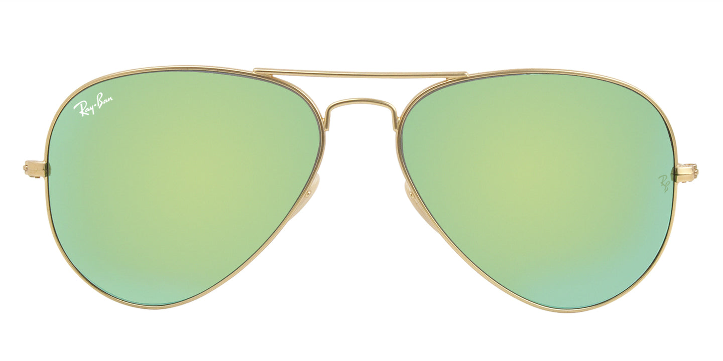 Ray Ban - Aviator Gold/Green Mirror Unisex Sunglasses - 58mm