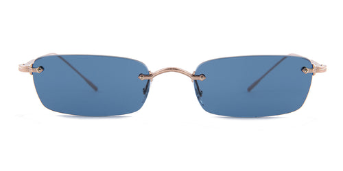 Oliver Peoples Daveigh Rose Gold / Blue Lens Sunglasses