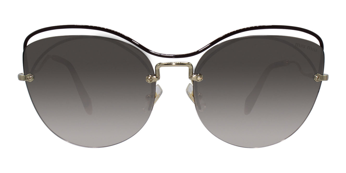 Miu Miu - MU50TS Gold/Brown Gradient Oval Women Sunglasses - 60mm