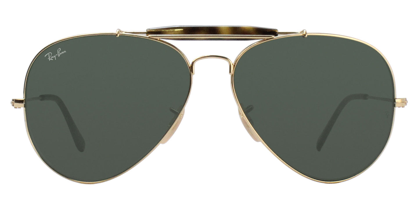 Ray Ban - RB3029 Gold/Green Aviator Unisex Sunglasses - 62mm