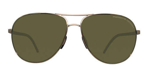 Porsche Design P8651 Gold / Green Lens Polarized Sunglasses