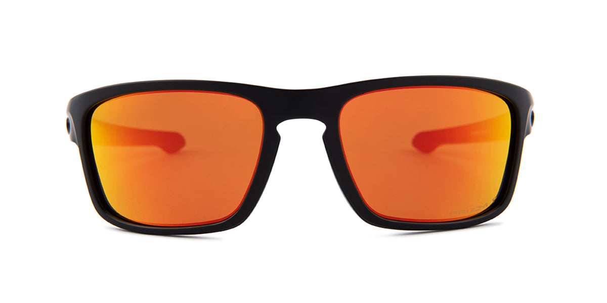 Oakley - Silver Stealth Black/Orange Square Unisex Polarized Sunglasses - 56mm