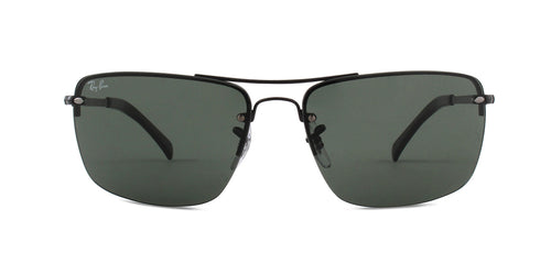 Ray Ban - RB3607 Black/Green Rectangular Unisex Sunglasses - 61mm