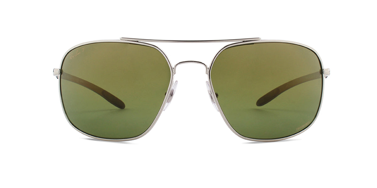 Ray Ban - RB8322CH Silver/Green Mirror Polarized Square Men Sunglasses - 62mm