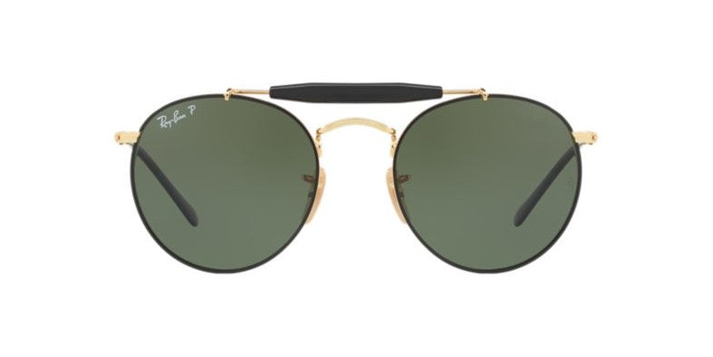 Ray Ban - RB3747 Black/Green Polarized Round Unisex Sunglasses - 50mm